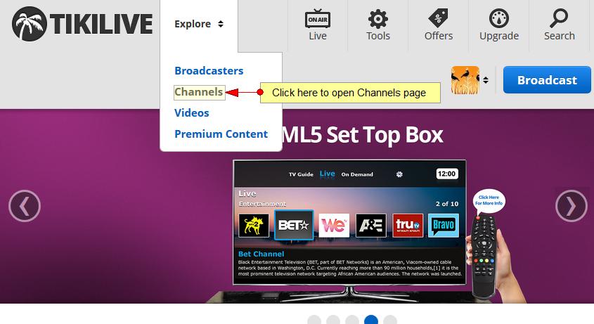 available channels broadcast platform