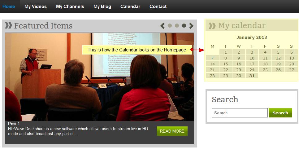 activate wordpress widget calendar