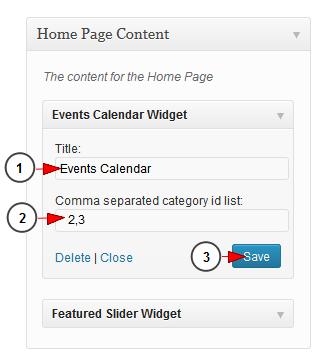 activate wordpress widget events calendar
