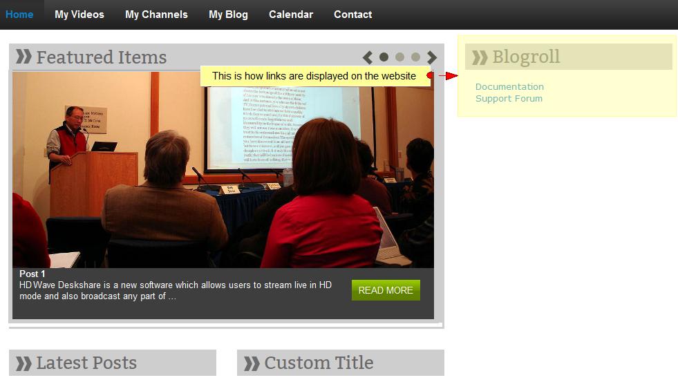 activate wordpress widget links