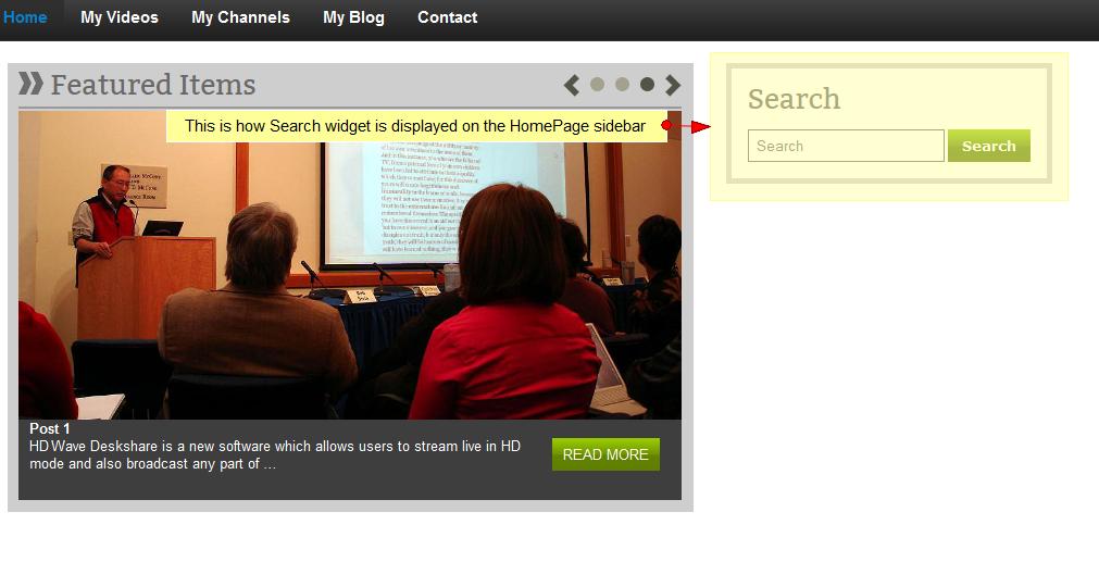 activate search wordpress widget